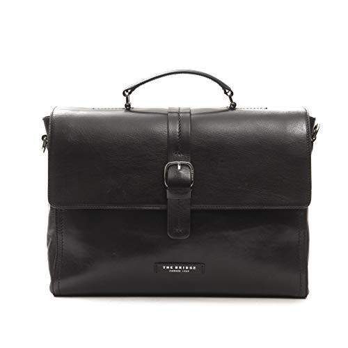 The Bridge Cartella Ventiquattrore borsa porta Pc 14'apertura zip pelle leather tracolla shoulder bag uomo man marrone 39X29X9 Cm 46301701 -nero