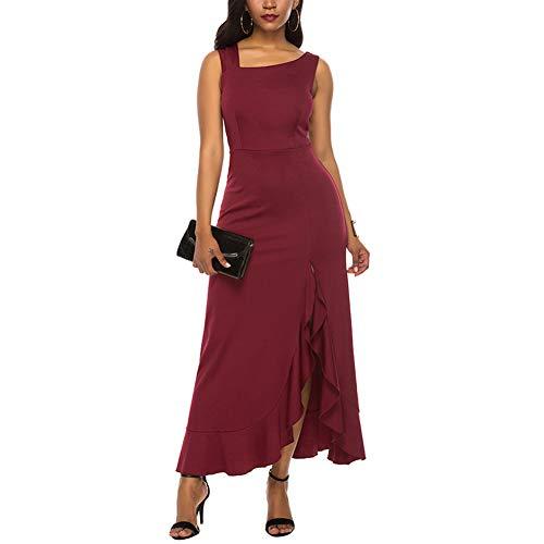Vestido Largo Mujer Para Graduación Hombro Descubierto Invitada Boda Vestido Hippies Mujer Noche Verano Elegante Sexy Vestido Fiesta Sin Manga De Ceremonia Mujer Largo Ajustado Vestido Rojo
