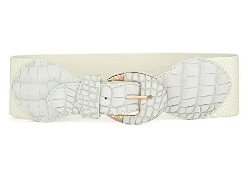 Allegra K Women Single Prong Buckle Crocodile Print Elastic Band Waist Belt White one size