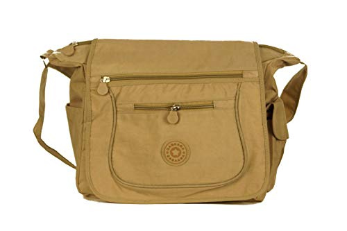 Gabaara Damen Schultertasche Nylon mit Überschlag Umhängetasche in 5 Farben Leicht mit Viele Fächern Sporttasche (Beige)
