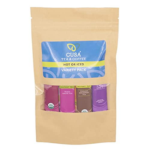 Cusa Tea & Coffee, Variety Pack. Premium Instant Tea Made With Real Fruit and Spices, Organic Leaves, No Added Sugar. Drink Mix Packets Ready in Seconds, Makes Hot or Iced Tea (10 Servings)