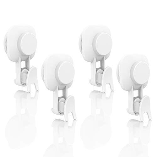 Suction Cup Hooks Pack of 4 Drill-Free Removable 1 Second to Install Vacuum Suction Cup Heavy Duty Max Hold 11lbs Waterproof Holder for Towel Robe Loofah Organizer for Bathroom Kitchen