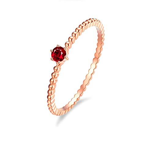 Ubestlove Solitär Ring 750 Gold Einfache Perlen 6 Krallen Verlobungsring Verstellbar 0.1Ct Rubin Ringe Größe 49