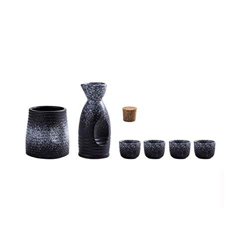 LYYF Estilo japonés Cerámica Retro Sake Set Warmo Hot Wine Pot Hogar Amarillo Blanco Botella Botella Taza Separador Wineware Caja de Regalo 210313 (Color : 1, Size : 6 Pieces)