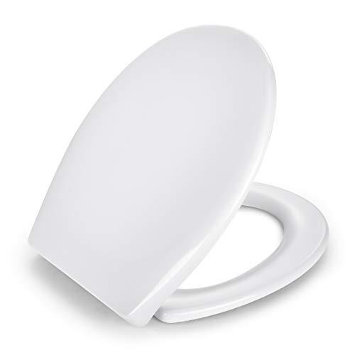 Sedile WC in Formaldeide Urea, APEXFORGE Universale Antibatterico Tavoletta WC Chiusura Rallentata Copriwater Bagno Installazione Rapida Pulizia Facile Bianco Forma O Ovale-ATSTY14