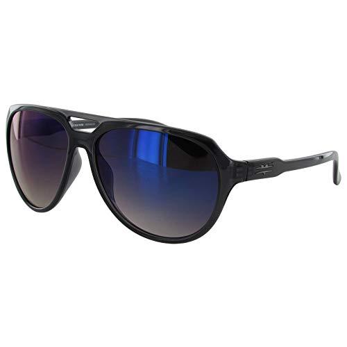 Vuarnet Men's Extreme VE5009 Medium Aviator Sunglasses Shiny Black/Blue Blue Blue Lens