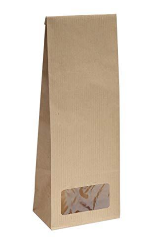 Blockbodenbeutel mit Sichtfenster - 100g - Größe 7 x 4 x 20,5 cm - Papiertüten Bodenbeutel Geschenktüte Papierbeutel Tütchen Kraftpapier Papierbeutel (100g – mit Sichtfenster, 50 Stk. - OPP)