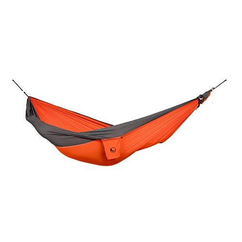 Ticket to the Moon Fair Trade & Handmade 1-2 Person King Size- Lightweight-Hammock Orange-Dark Grey for Travelling, Camping, XXL 3.2 * 2.3m, 700g, Parachute-Silk, Set-Up  1 min, OEKO-TEX
