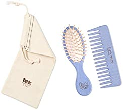 Tek violet purse brush and comb with cotton bag - Handmade in Italy