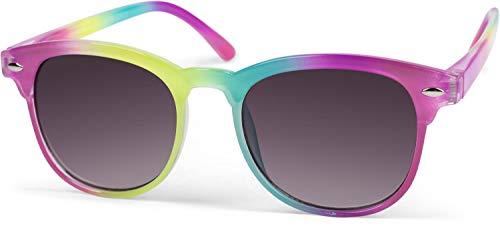 styleBREAKER Kinder Nerd Sonnenbrille mit buntem Rahmen, Kunststoff Rahmen und Polycarbonat Flachgläsern 09020090, Farbe:Gestell Pink-Gelb-Türkis-Pink/Glas Grau Verlauf