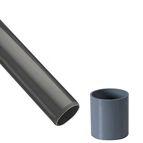 EXCOLO PVC Rohre und Fitting Ø 40 mm Fitting Winkel Kniestück Adapter Muffen T-Stück Kappen (1 x Rohr 1M + Muffe)