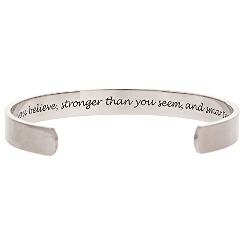 JUDE Stainless Steel Inspirational Encouragement Bracelet Bangle, You are Stronger