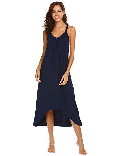 Modfine Vestido de Noche Sólido del Dobladillo Irregular del Dobladillo de la Correa de Espagueti de Las Mujeres