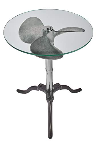 MY SWANKY HOME Vintage Style Silver Metal Ship Boat Propeller Side Table 22 in Round Glass Top