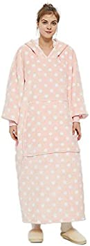 Tv Lazy Proof Warm Wearable Blanket Pajama for Adult Women and Men Oversized Long Blanket Sweatshirt with Soft Sherpa Fleece Hoodie Blanket Blue Deep Front Pockets -Thick Giant Hooded Robe Pullover