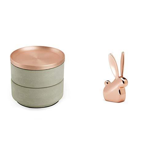 Umbra Tesora Schmuckkasten – Stapelbare Schmuckdose zur Aufbewahrung und Ablage von Ringen, Ohrringen, Ketten, Uhren, Armbändern und Accessoires & Anigram Hasen Ringhalter