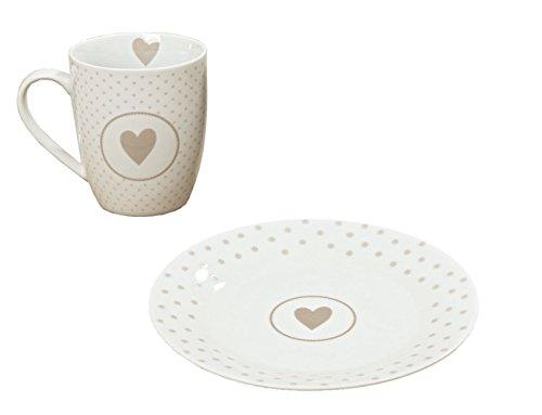 Collection Juego de desayuno con taza grande y plato de postre, 390 ml, diseño rústico, color blanco
