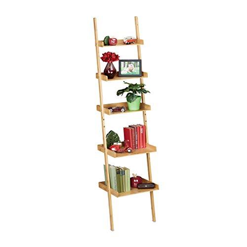 Relaxdays Leiterregal Bambus, 5 Etagen, Bad, Küche, Wohnzimmer, Standregal zum Anlehnen, HBT: 190 x 45 x 40 cm, Natur, 1 Stück