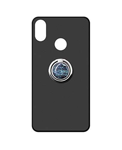 Sunrive Kompatibel mit UMIDIGI A3/A3 Pro (2019) Hülle Silikon, 360°drehbarer Ständer Ring Fingerhalter Fingerhalterung Handyhülle matt Schutzhülle Etui Hülle (Blauer Marmor) MEHRWEG