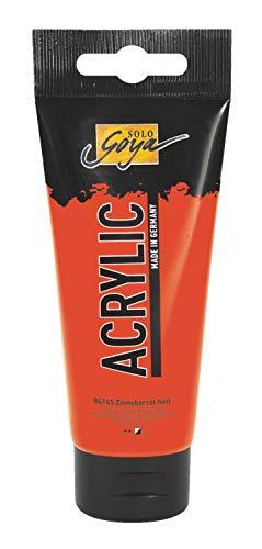 Kreul 84145 - Solo Goya Acrylic, 100 ml Tube in zinnoberrot hell, cremige vielseitig einsetzbare Acrylfarbe in Studienqualität, auf Wasserbasis, schnell und matt trocknend, gut deckend, wasserfest