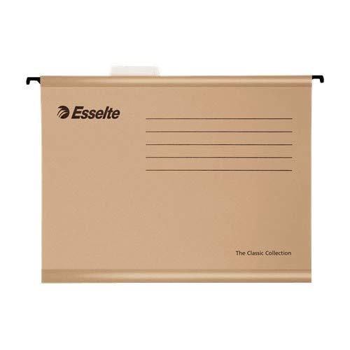 Esselte 93291 Classic - Carpeta colgante reforzada, Tamaño folio, Cartón kraft reciclado, Visor de plástico transparente,...