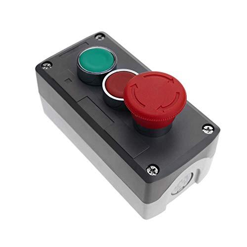 BeMatik - Caja de Control con Dos pulsadores momentáneos 22mm 1NO 1NC 400V 10A y Parada de Emergencia