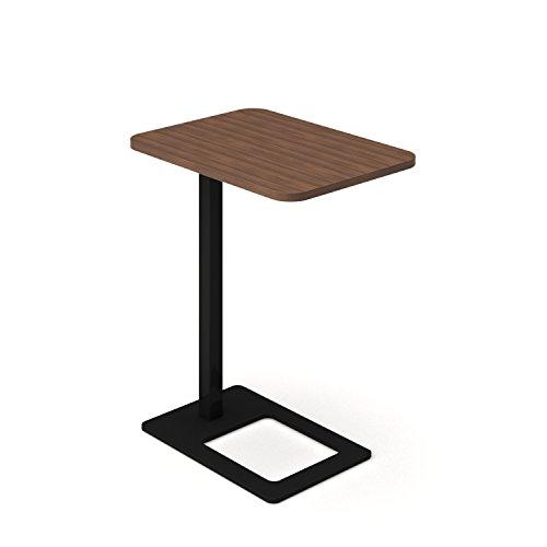 Mobiler Beistelltisch MOBI 400 x 500 mm mobiler Arbeitstisch Büro Kaffeetisch Ablagetisch, Gestellfarbe:Schwarz, Melamin-Farbe:Nussbaum