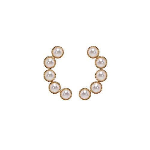 Yhhzw Pendientes De Botón De Moda De Metal Para Mujer, Pendientes Pequeños De Perlas De Viento Fresco Simple, Joyería Femenina
