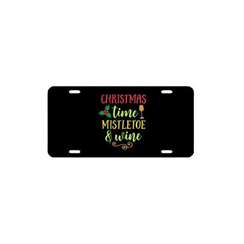Placa de licencia decorativa para coche, diseño de muérdago de Navidad y vino de aluminio, 15,2 x 30,5 cm