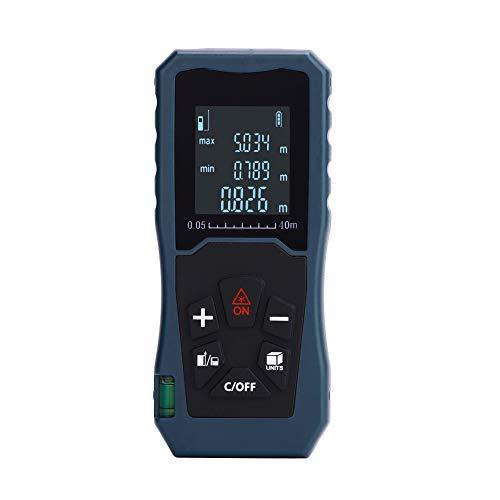 Misuratore a laser, distanza 40m telemetro con funzione di misurazione pitagorica, misura distanza, area, calcola il volume, batterie non incluse