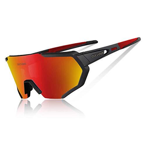Queshark Polarizzati Anti-UV con 5 Lenti Occhiali da Ciclismo Intercambiabili per Sport (Nero Rosso)