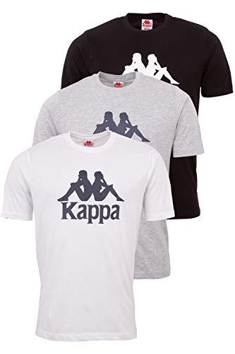 Kappa Herren T-Shirt VEPPEL im 3er Pack | Sport-Shirt mit Rundhalsausschnitt und Logodruck | Basic Shirts für Männer | Kurzarm Oberteil für Sport und Freizeit | Regular Fit | XL