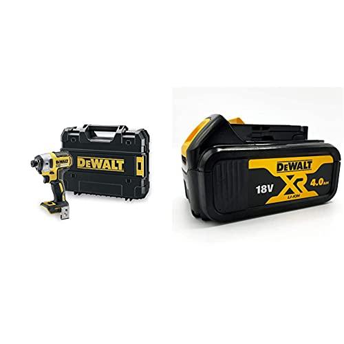 DeWalt Dcf887Nt-Xj Avvitatore Impulsi 1/4' Brushless In Valigatta Tstak Senza Batterie E Caricabatteria & Dcb182-Xj Batteria Xr Litio 18 V, 4 Ah