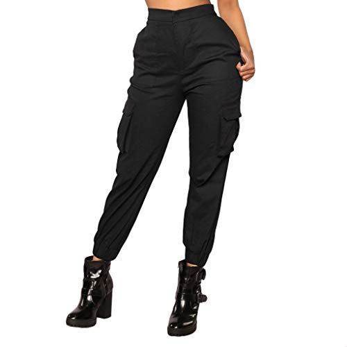 Xmiral Pantalone Tuta Pants Donna Pantaloni Basic Elegante Alto Vita Harem Larghi Elastico Sottile Pantaloni S nero