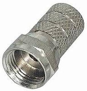 MANAX® 10 x F Stecker |Steckerlänge 20 mm | gerändelte Version | vernickelt|für Kabel Ø 5,0mm