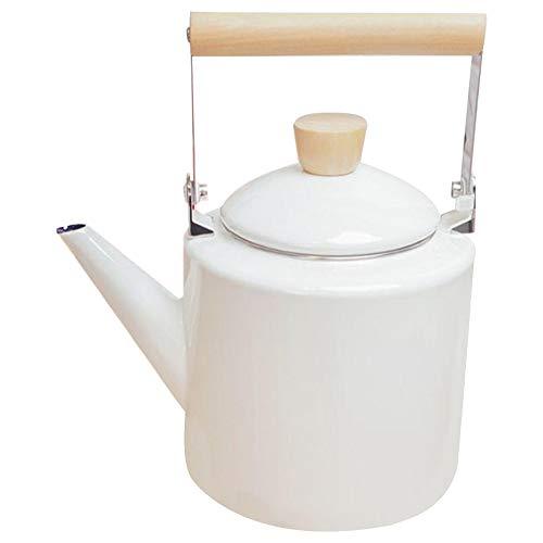 TTBD Teiere nel Stile Giapponese con Bollitore Smaltato 2 Litri per La Maggior Parte degli Alogeni Pentole tè Kungfu Bianco