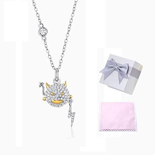 FATRWO Sterling zilveren Evil Eye Ketting, 18K Goud Sterling Zilver 45Cm Ketting, Cubic Zirkonia hanger, Jong|Fashion Party Jewelry, Meisjes Gift