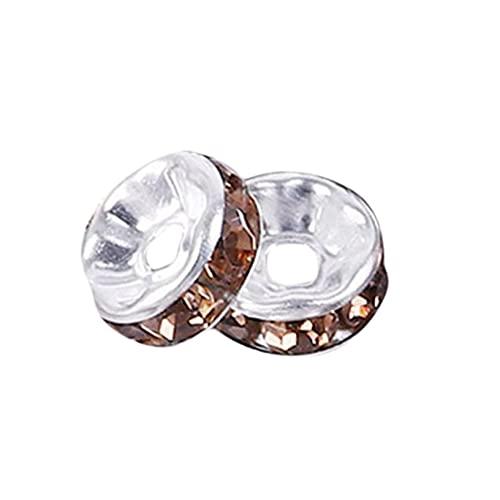 YHFJB Diamantes de imitación de cristal, cuentas sueltas para joyas, pulseras, collares, manualidades, proyectos de artesanía, hermosa decoración, piedras de café incrustadas de plata