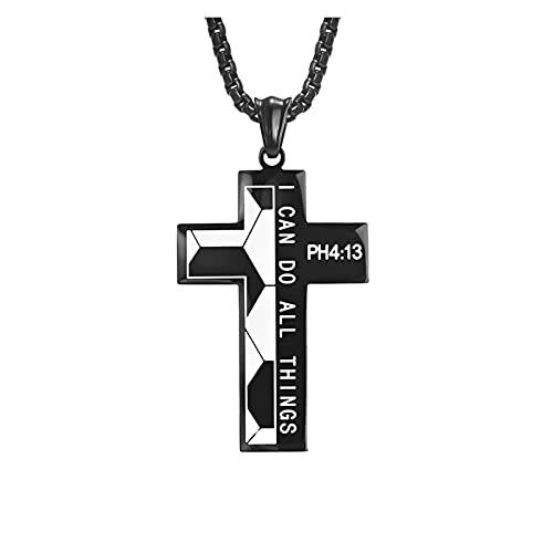 WDSFT Collar Delicado para Mujer Cross Filipenses Colgante Collar para Hombres, Titanio Cuello de Acero Inoxidable Hiphop Pareja Deportes Colgante con Cadena Punk Rock gótico Gargantilla joyería