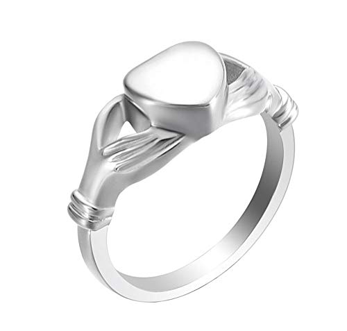 N / D Urn Necklace For Ashes Trendy Cremation Ash Urn Rings 316L Stainless Steel Heart Pet Human Memorial Finger Rings for Women Men Unisex Love Jewelry