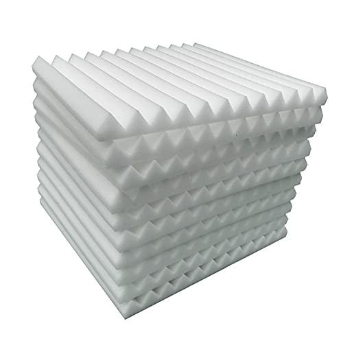 12 Stück Akustikschaumstoff Platten Schall Dämmung Noppenschaumstoff Schallabsorber Akkustik Schaumstoffmatte für Tonstudio Büro schaumstoffplatte weiß(30 x 30 x 2.5 cm)