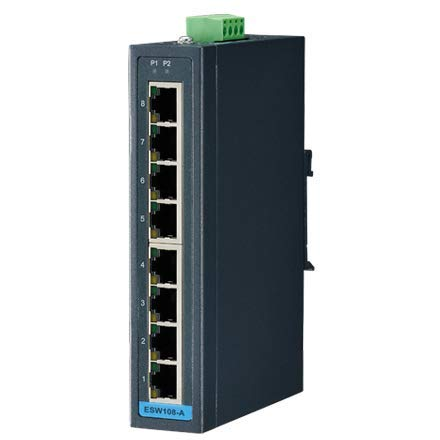 Advantech BB-ESW108-A, 8 FE Unmanaged Industrial Ethernet Switch with Wide Temperature Low VAC Power Input