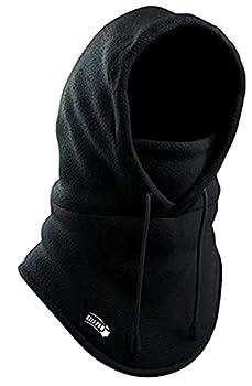 Balaclava Fleece Hood - Windproof Face Ski Mask - Ultimate Thermal Retention & Moisture Wicking with Performance Soft Fleece Construction Black One Size