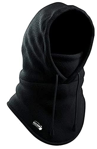 Balaclava Fleece Hood - Windproof Face Ski Mask - Ultimate Thermal Retention & Moisture Wicking with Performance Soft Fleece Construction, Black, One Size