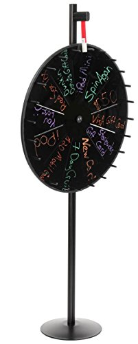 Displays2go Twelve Slot Prize Wheel with Floor Stand, Black Write-on Board for Wet-Erase Markers, 32 Inch Diameter Promotional Wheel of Chance with Plastic Flapper - Black Aluminum Base and Pole