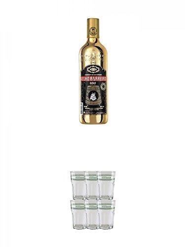 Velho Barreiro Cachaca Gold Deluxe 10 Jahre 0,7 Liter + Velho Barreiro Caipirinha Glas 6 Stück
