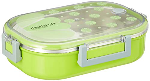 Tedemei Transparent Color Stainless Steel Rectangular Insulated Lunch Box with Spoon and Mini Salad Box (Green, Rectangular)