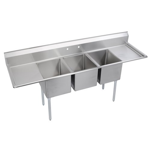 Elkay Foodservice 3 Compartment Sink, 94'X29.75' OA, 36' Working Height, 18X24 Bowl, 12 Deep, 10.75' Backsplash, Left & Right 18' Drainboards, 8' On Center Faucet Hole, Galvinized Legs, Adjustable Feet, 16 Gauge 300 Series Stainless Steel, NSF Certified