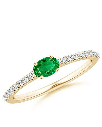 SAVVIDIS Anillo de Oro de 14 quilates con Diamantes y Esmeralda