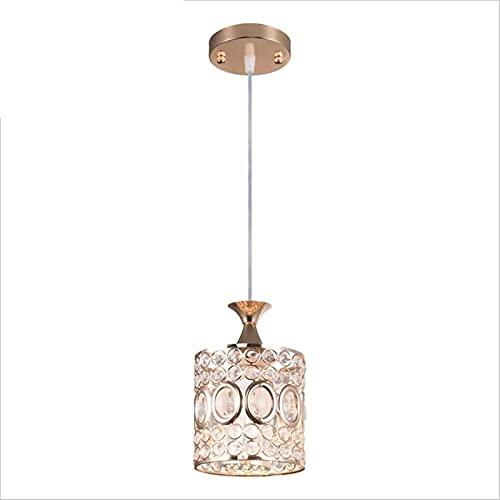 Auoeer Botón Lámpara de Hierro Lámpara Cuerpo Postmoderno Lámpara Individual Simple Cristal Tipo LED Dormitorio Restaurante Sala de Estar Araña Aparada 15 * 16 cm Elegante